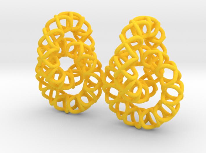 XOXO Linked Rings - a pair of earrings 3d printed