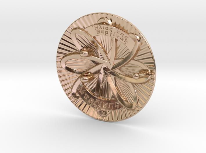 Sun of Vergina Belt Buckle, Simplified Center 3d printed 14k Rose Gold(rear)