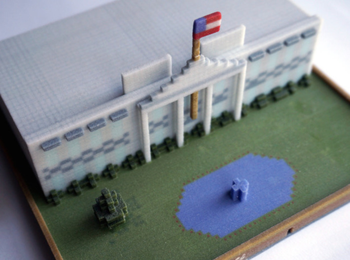 Minecraft Whitehouse 3d printed