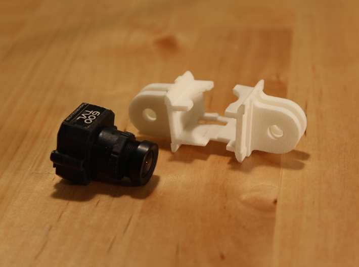 Fatshark 600tvl Camera Holder with GoPro Mount 3d printed Fatshark 600TVL and the mount