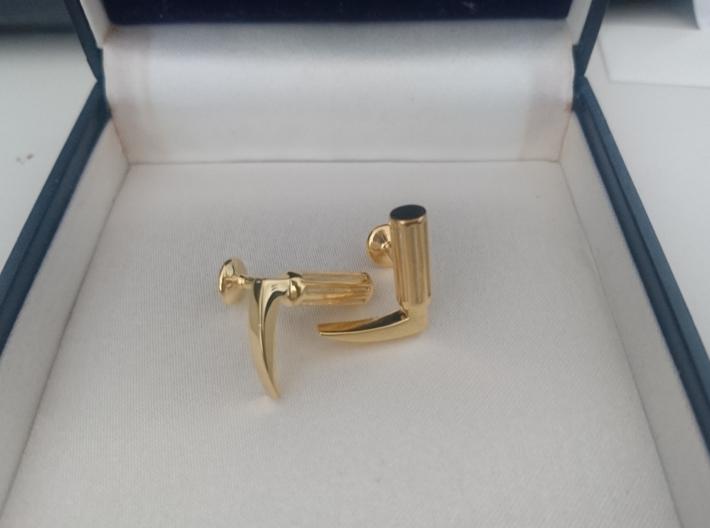 Laryngoscope cufflinks 3d printed 18k gold plated fresh from shapeways