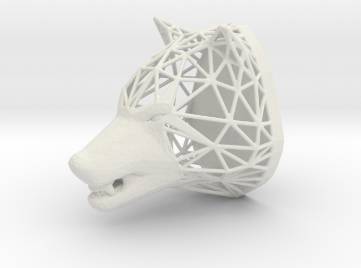 Wolf Trophy Wireframe 80mm 3d printed