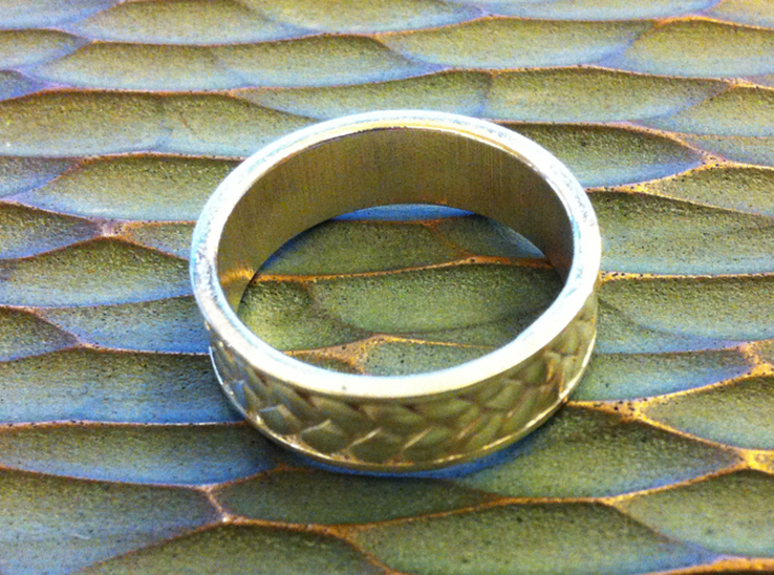 Woven Ring 3d printed Polished Silver