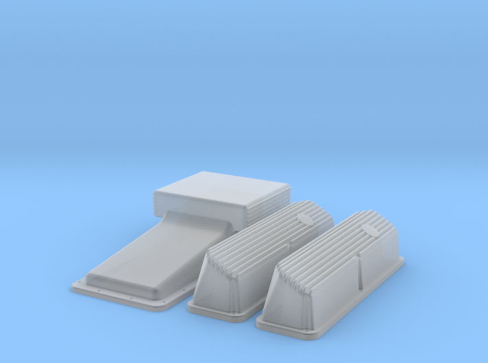 1/32 Ford 427 Side Oiler Finned Pan And Cover Kit 3d printed