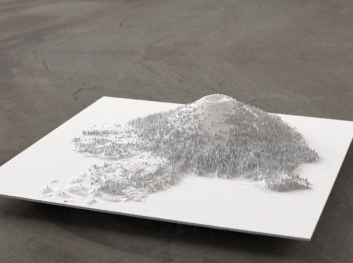 6'' Wizard Island, Oregon, USA 3d printed Radiance rendering, looking East