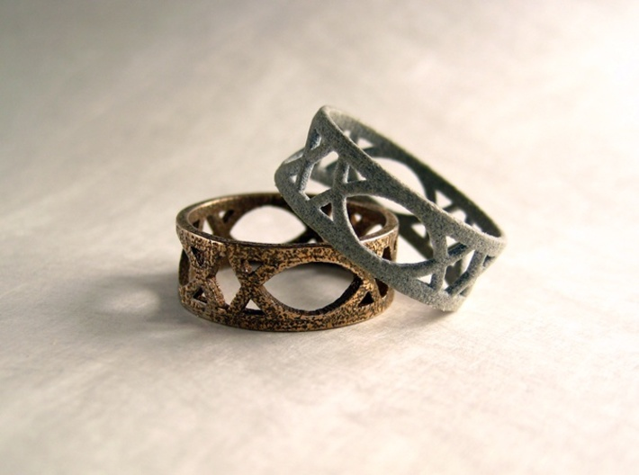 Art Deco Styled Ring  3d printed Art Deco styled ring in Stainless Steel and Alumide