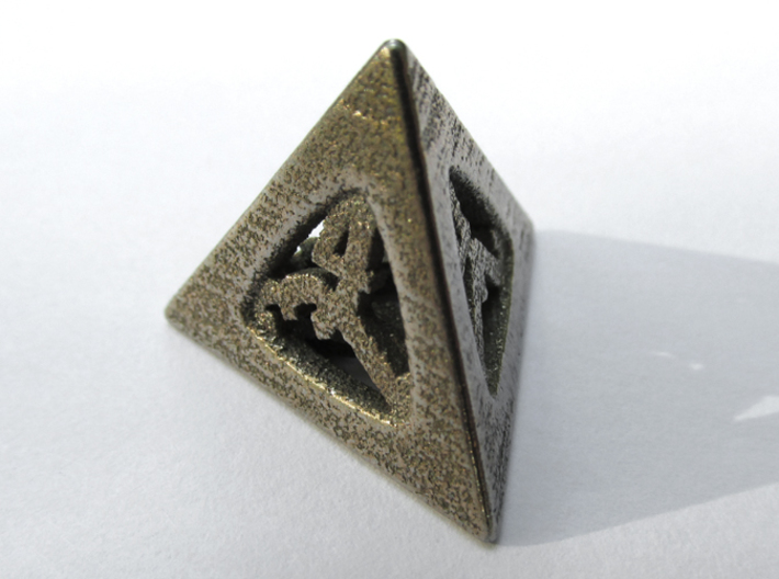 Thoroughly Modern d4 3d printed In Stainless Steel