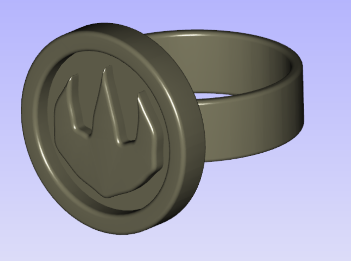Zelda OoT Fire Ring 3d printed A rendered image of the Fire Ring.