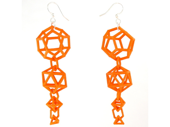 Platonic Progression Earrings - Clean 3d printed Earrings printed in Orange Strong and Flexible, with earwires added