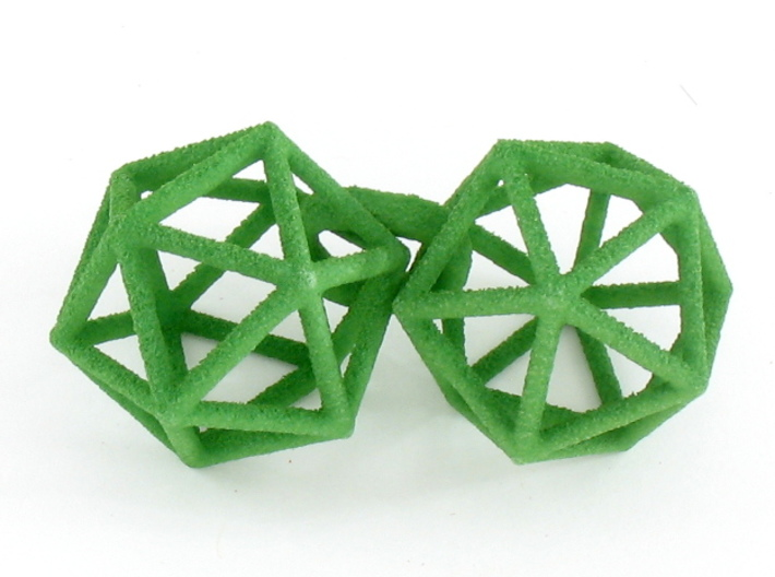 Icosahedron Earrings, clean style 3d printed Earrings printed in Green Strong and Flexible, shown looped