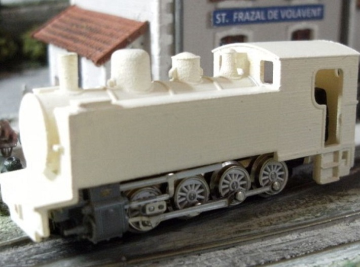 Locomotive Corpet-Louvet 0-4-0T Nm 1:160 3d printed model + primer - drop fit onto chassis.