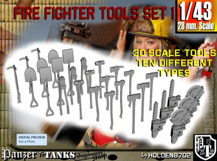1-43 Firemen Tools Set 1 3d printed
