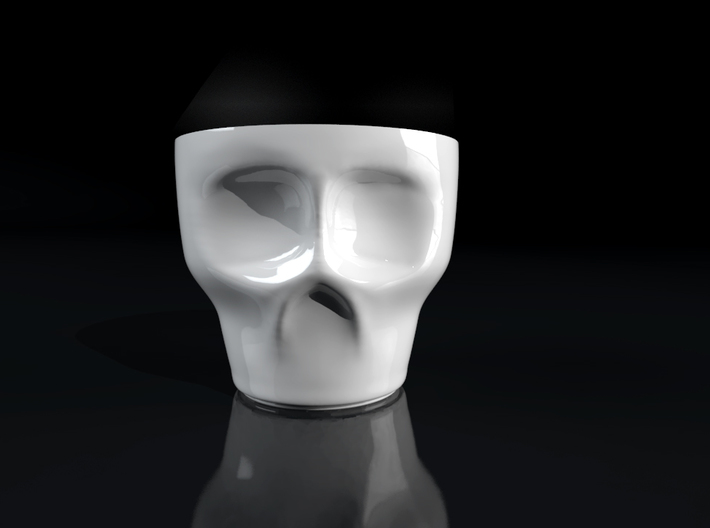 Skull Espresso Cup 3d printed Gloss white porcelain