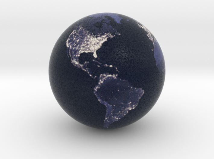 Earth at Night (1:80 Million scale) 3d printed