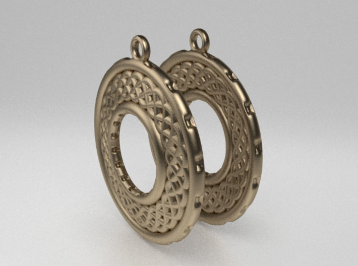 TreeSin Earrings 3d printed Raw Bronze