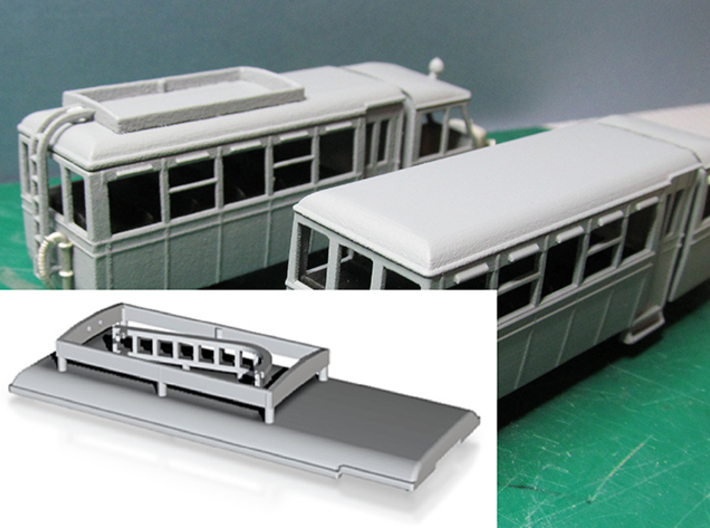 Railcar Roof A or B (Part R1) 3d printed