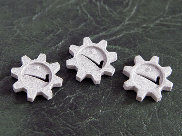 Checkmark Cog Boardgame Token (x12) 3d printed Rear face of  tokens, showing where they were clipped from the sprue.