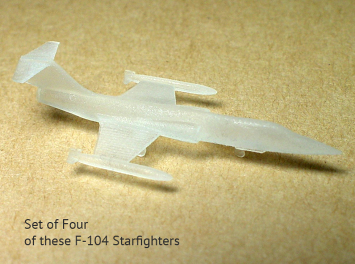 4x 1/350 scale F-104 Starfighter with Gear Down 3d printed 3/4 Top View