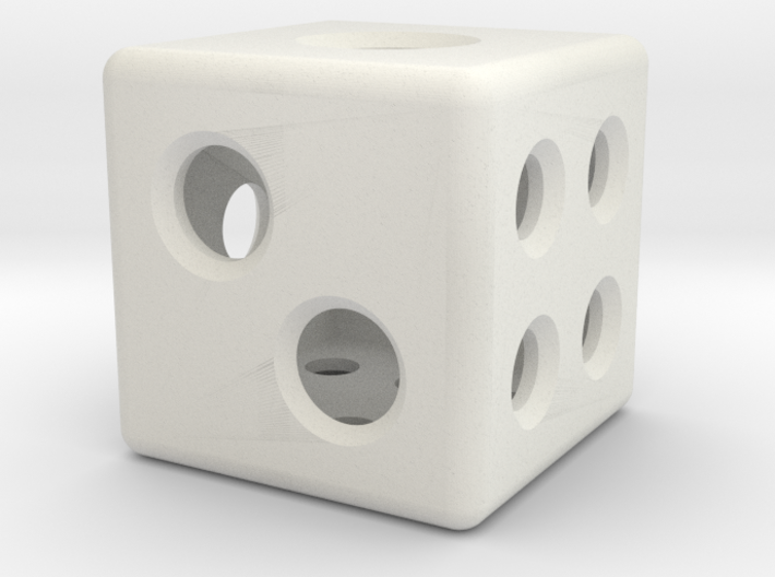 Loaded Hollow Dice (D6) (1.5cm) 3d printed