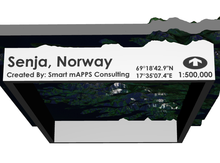 Senja Map, Norway 4x6 3d printed