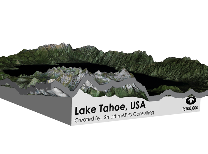 Lake Tahoe Map, California / Nevada 3d printed