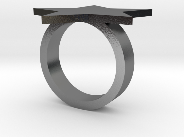 Silver Star Ring Size S  3d printed