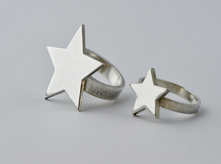 Silver Star Ring Size L 3d printed ring pictured on right