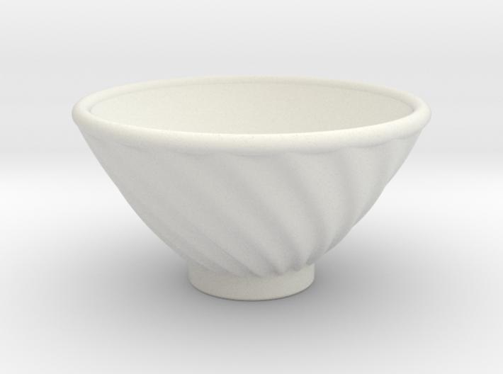 DRAW bowl - ceramic spiral ridged 3d printed