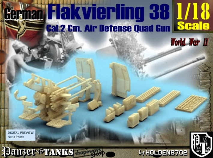 1-18 Flakvierling 38 3d printed
