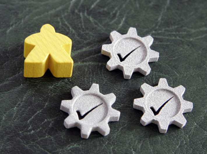 Checkmark Cog Boardgame Token (x20) 3d printed Normal sized meeple shown for scale.