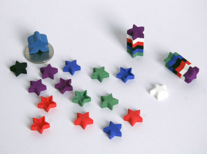 Boardgame counter - Star (x10) 3d printed Selection of counters, with meeple and 10 pence piece for scale.