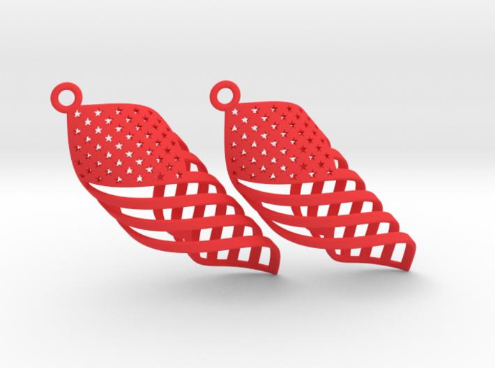 American Flag Swirl Earrings 3d printed
