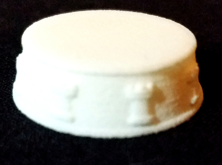 Chess Rook Base - 1 inch 3d printed White Strong and Flexible - Photo on Black Fabric