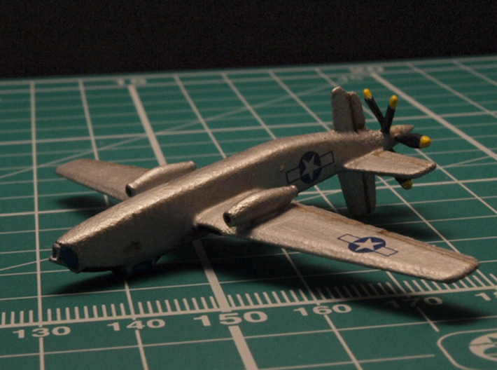 Douglas XB-42 Mixmaster pair 1/285 6mm 3d printed Fast bomber Douglas XB-42A Mixmaster painted as prototype 43-50224 as of 1947