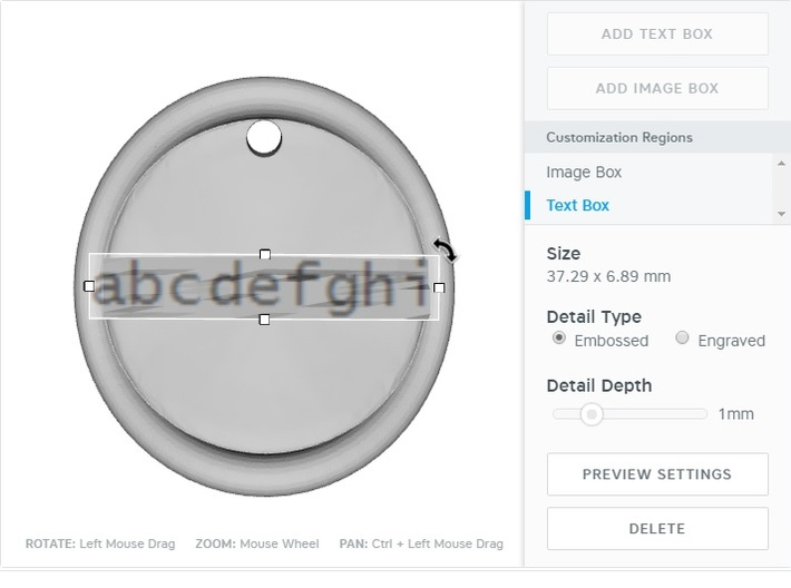 keychain tag round warped border embossed 3d printed CustomMaker test box definition area
