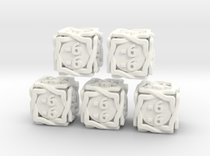 5 × 'Twined' D6 -1/-1 counters (14 mm) SOLID 3d printed