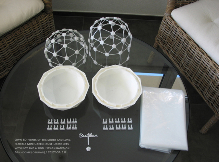 Connector-Set #2 for Flexible Mini Greenhouse-Dome 3d printed Flexible Mini Greenhouse-Dome with Pot (Sets short and long). Own 3D-prints with white/transparent PLA.