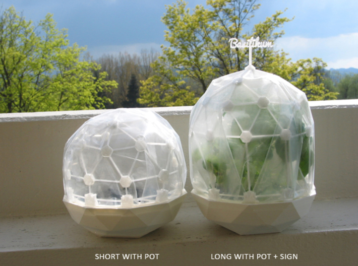 MGD-13 (10x): A Set with 10 D-Connectors 3d printed Flexible Mini Greenhouse-Dome with Pot (Sets short and long + sign). Own 3D-prints with PLA.