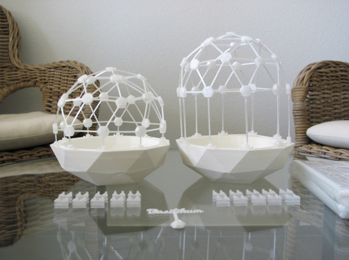 MGD-01 (10x): A Set with 10 Hexa-parts 3d printed Flexible Mini Greenhouse-Dome with Pot (Sets short and long + sign). Own 3D-prints with PLA.