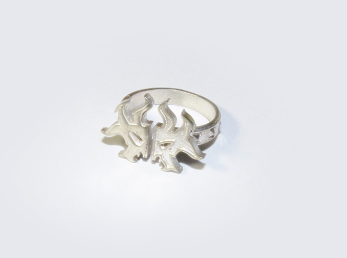 Magic: The Gathering  Rakdos Ring(US Size11) 3d printed Polished Silver