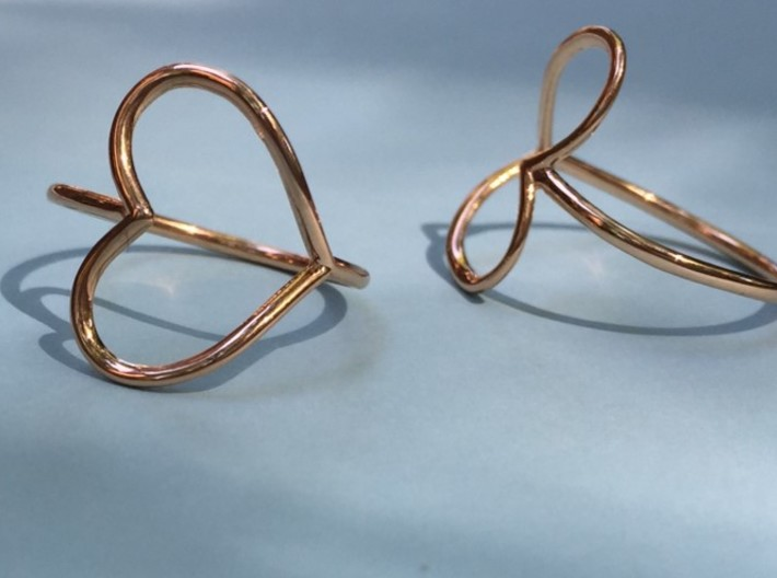 Infinity Heart Ring 3d printed Heart Rings in Rose Gold -Front & Side View