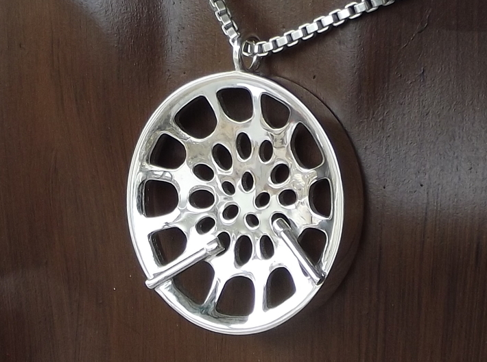 "Low Tenor ""Void"" steeplan pendant 3d printed Polished silver"