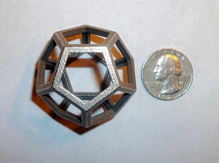 Dodecahedron 3d printed Dodecahedron in Raw Stainless Steel