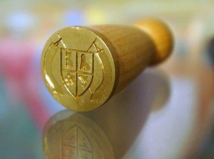 Montucio Wax Seal Stamp 3d printed The raw brass stamp attached to it's wooden handle.