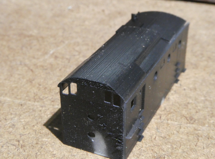 SP Rotary Snow Plow in N Scale 3d printed Light painting helps to align parts for assembly.  Avoid painting the actual areas that will be glued.