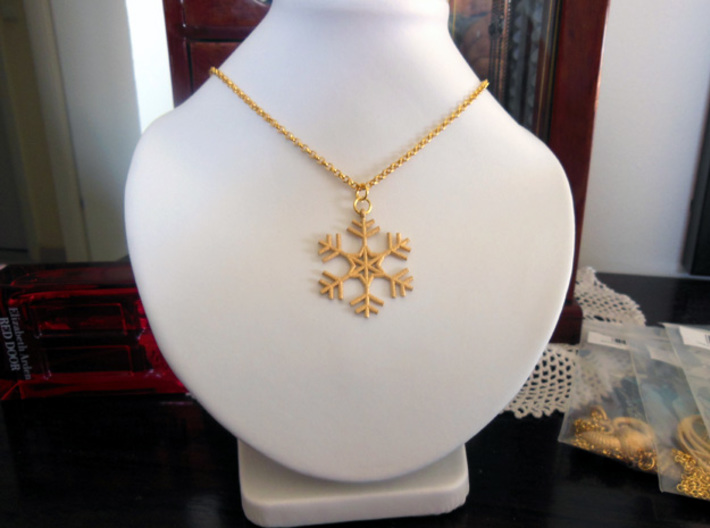Snowflake 3d printed Photo of the pendant from Polished Gold Steel