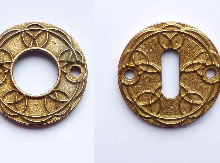 "Escutcheon for Dragon door handles - "" Holy Circle 3d printed dragon doorhandle escutcheon circles 3D printed in steel"
