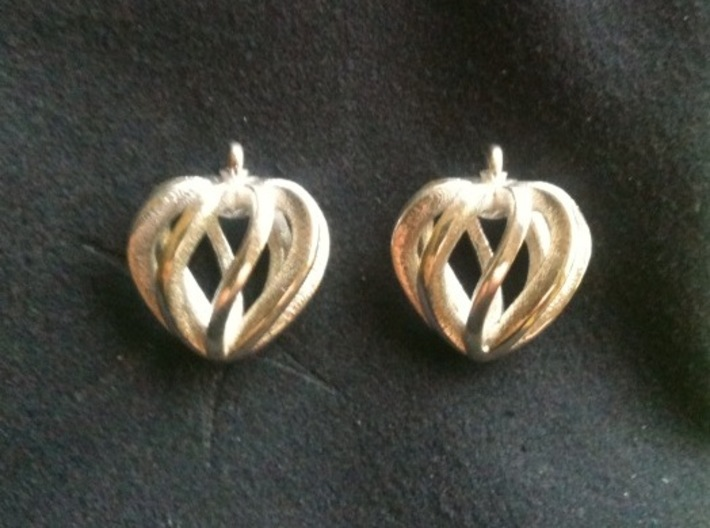 Heart Cage Earrings 3d printed Polished Silver