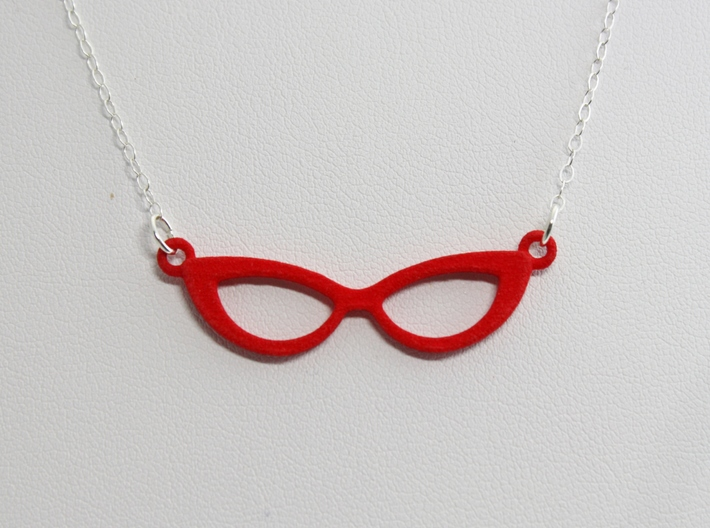 Cateye Glasses Necklace 3d printed Red Strong and Flexible Polished Plastic - CHAIN NOT INCLUDED