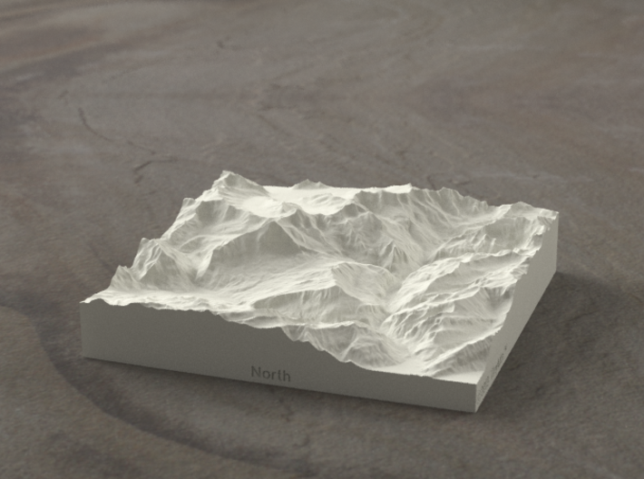 4''/10cm Oberland Peaks, Switzerland, Sandstone 3d printed Radiance rendering of model, looking south toward the Eiger Nordwand.